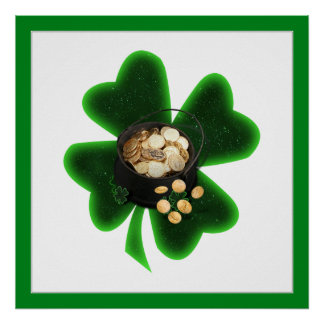 Pot of Gold and Big Shamrock Poster