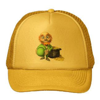 Pot Of Gold And Leprechaun Trucker Hats