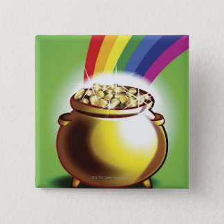 Pot of gold and rainbow button