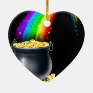 Pot of gold and rainbow ceramic ornament