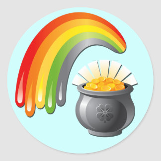 POT OF GOLD AND RAINBOW CLASSIC ROUND STICKER