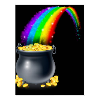 Pot of gold and rainbow postcard
