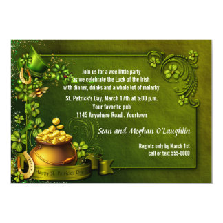 "Pot of Gold and Shamrocks St Patty's Party Invite 5"" X 7"" Invitation Card"