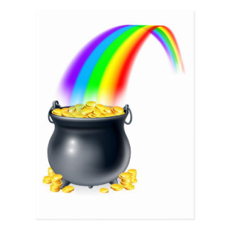 Pot of gold at the end of the rainbow postcard