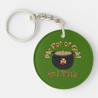 Pot of Gold for Saint Patrick's Day Double-Sided Round Acrylic Keychain