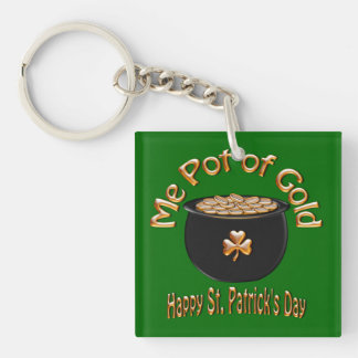 Pot of Gold for Saint Patrick's Day Double-Sided Square Acrylic Keychain