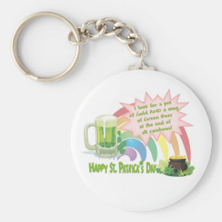 POT OF GOLD, GREEN BEER & RAINBOW BASIC ROUND BUTTON KEYCHAIN
