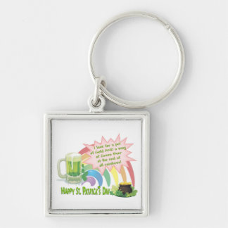 POT OF GOLD, GREEN BEER & RAINBOW Silver-Colored SQUARE KEYCHAIN