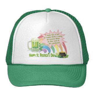 POT OF GOLD, GREEN BEER & RAINBOW TRUCKER HAT