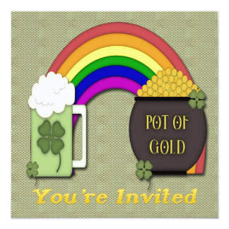 Pot of Gold Green Beer St Patrick's Day Invitation
