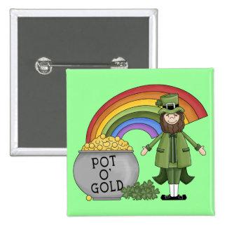 Pot of Gold Leprechaun Button