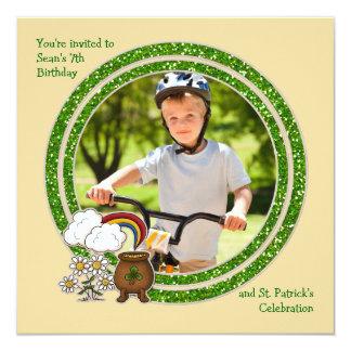 Pot of Gold - Photo St. Patrick's Day Birthday Inv 5.25x5.25 Square Paper Invitation Card