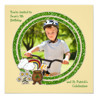 "Pot of Gold - Photo St. Patrick's Day Birthday Inv 5.25"" Square Invitation Card"