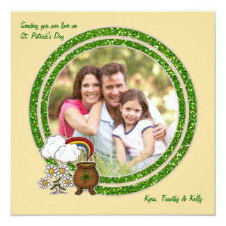 "Pot of Gold - Photo St. Patrick's Day Card 5.25"" Square Invitation Card"