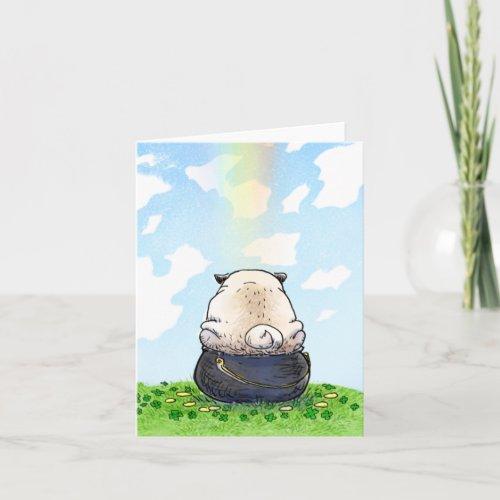 Pot of Gold pug St Patricks Day card