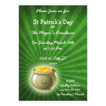 pot of gold St Patrick's Day party Invitation