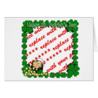 Pot of Gold w/Clover Framing for St Patrick's Day Greeting Card