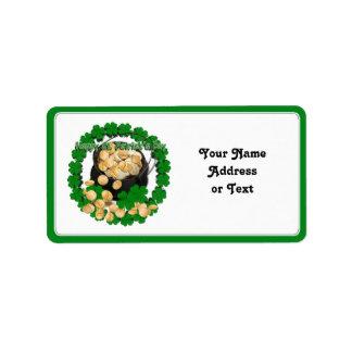 Pot of Gold w/Clover Framing for St Patrick's Day Custom Address Labels