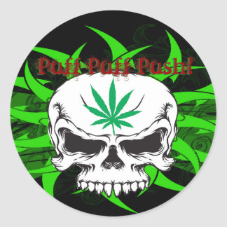 Pot Skull Sticky Classic Round Sticker