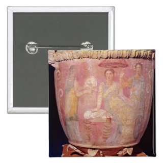Pot with a scene of women bathing 2 inch square button