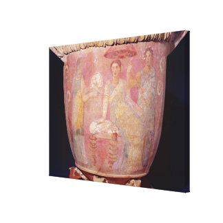 Pot with a scene of women bathing canvas print