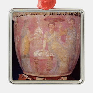 Pot with a scene of women bathing metal ornament