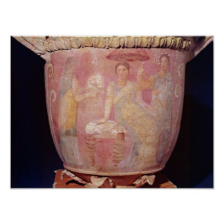 Pot with a scene of women bathing poster