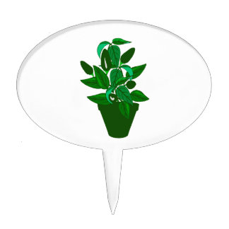 Pot with green themed plant cake topper