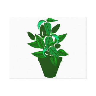 Pot with green themed plant canvas print