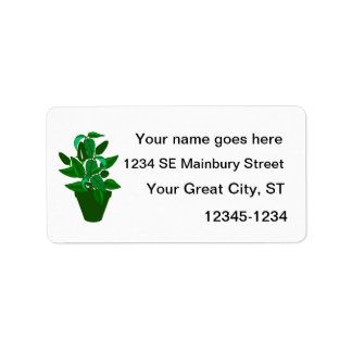 Pot with green themed plant labels