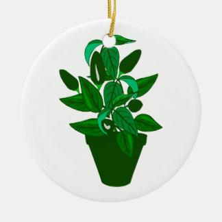 Pot with green themed plant christmas tree ornaments