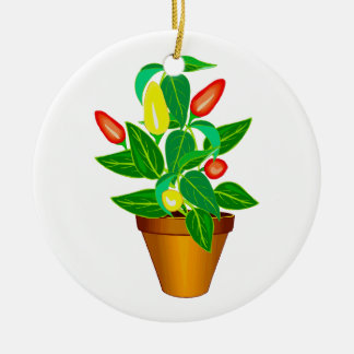 Pot with red and yellow pepper plant christmas ornaments