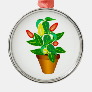 Pot with red and yellow pepper plant christmas tree ornament