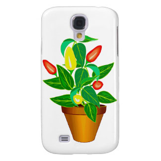 Pot with red and yellow pepper plant samsung galaxy s4 cover