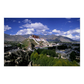 Potala Palace on mountain range from aher Print