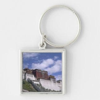 Potala Palace on mountain the home of the Dalai Silver-Colored Square Keychain