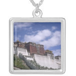 Potala Palace on mountain the home of the Dalai Square Pendant Necklace