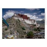Potala with prayer flags, Tibet, China Greeting Card