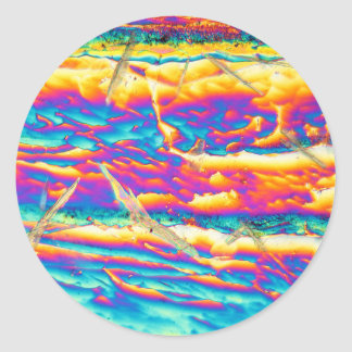 Potassium hydroxide under a microscope classic round sticker