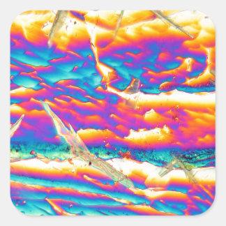 Potassium hydroxide under a microscope square sticker