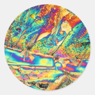 Potassium hydroxide under the microscope. classic round sticker
