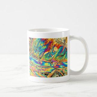Potassium hydroxide under the microscope. coffee mug