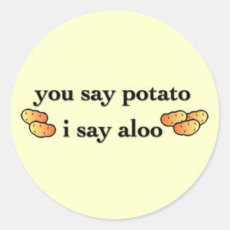 Potato Aloo Classic Round Sticker