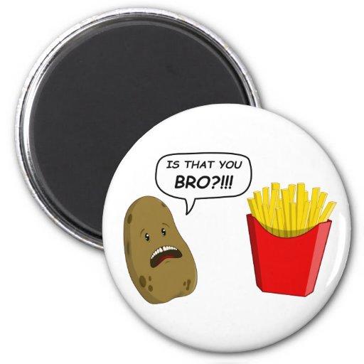 potato and fries fridge magnets