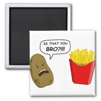 potato and fries 2 inch square magnet