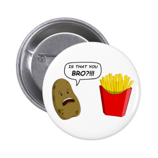 potato and fries pinback button