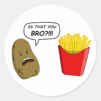 potato and fries round stickers
