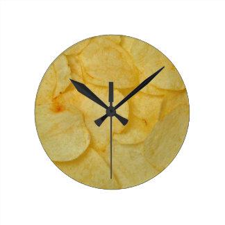 Potato Chip Round Wall Clocks