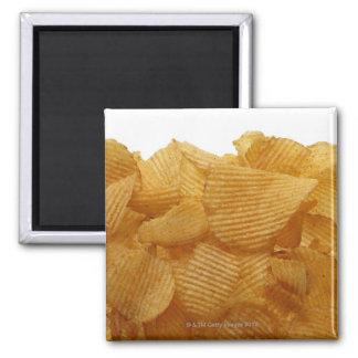 Potato crisps on white background, DFF image 2 Inch Square Magnet