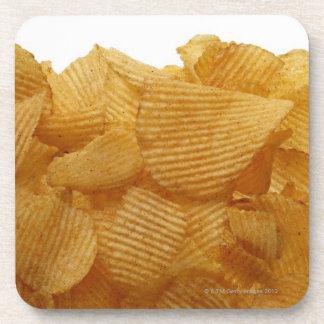 Potato crisps on white background, DFF image Beverage Coaster